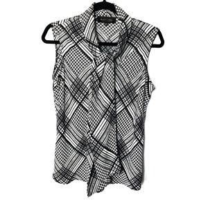 Evan Picone Black Label Black & White Blouse Sz M